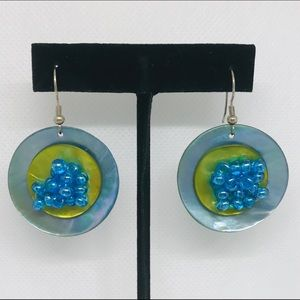 "Blue Abalone Bead ""Bubble"" Ocean Dangle Earrings"